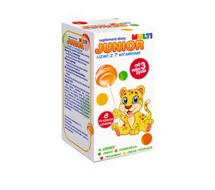 Junior Multi, lizaki z 7 witaminami, opakowanie 18 szt. kartoników